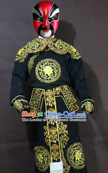 Traditional China Beijing Opera Takefu Embroidery Black Costume, Chinese Peking Opera Soldiers Embroidered Clothing