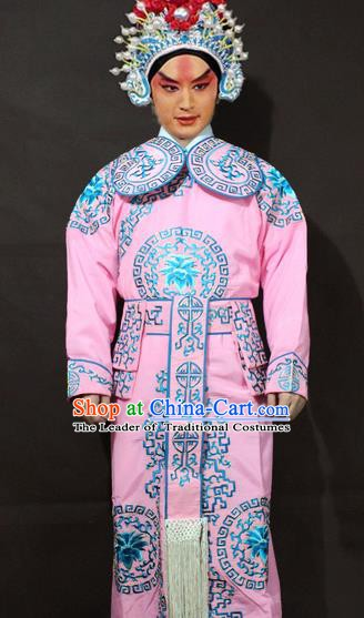 Traditional China Beijing Opera Takefu Embroidery Pink Costume, Chinese Peking Opera Soldiers Embroidered Clothing