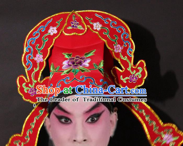 Traditional China Beijing Opera Niche Embroidery Red Hats, Chinese Peking Opera Scholar Headwear