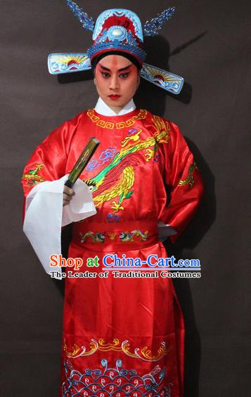 Traditional China Beijing Opera Niche Embroidery Costume, Chinese Peking Opera Lang Scholar Embroidered Robe Clothing