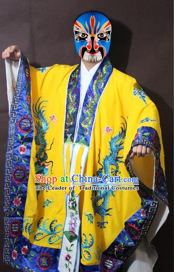 Traditional China Beijing Opera Taoist Priest Embroidery Costume, Chinese Peking Opera Yellow Embroidered Robe Clothing