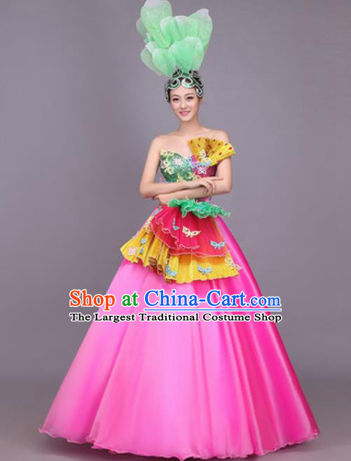 Professional Opening Dance Costume Stage Performance Classical Dance Rosy Dress for Women