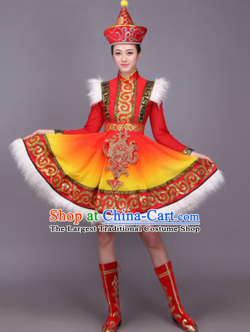 Chinese Traditional Mongol Nationality Dance Costume Mongolian Minority Folk Dance Dress for Women