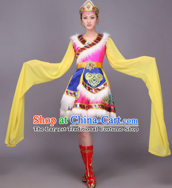 Chinese Traditional Zang Nationality Dance Costume Tibetan Minority Folk Dance Dress for Women