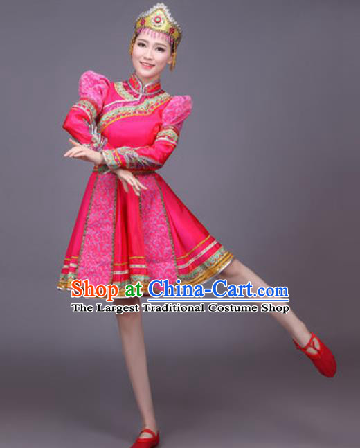 Chinese Traditional Mongol Nationality Dance Costume Mongolian Folk Dance Rosy Dress for Women