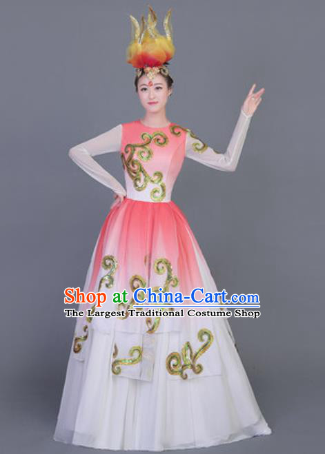 Professional Opening Dance Costume Stage Performance Classical Dance Chorus Pink Dress for Women