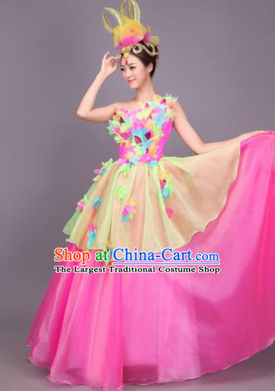 Professional Opening Dance Costume Stage Performance Modern Dance Rosy Bubble Dress for Women