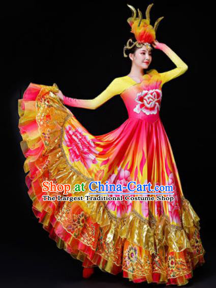Professional Opening Dance Costume Stage Performance Modern Dance Peony Flowers Dress for Women