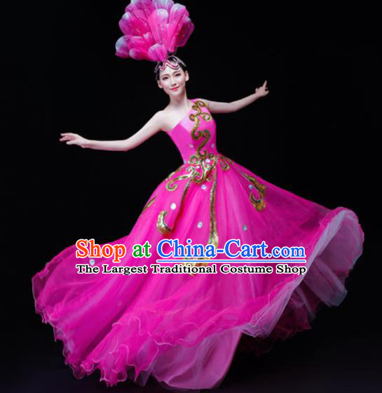 Professional Opening Dance Costume Stage Performance Modern Dance Rosy Veil Dress for Women