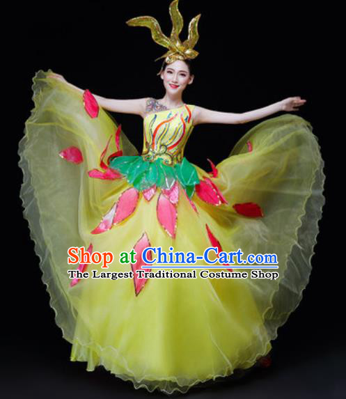 Professional Opening Dance Costume Stage Performance Modern Dance Yellow Veil Dress for Women