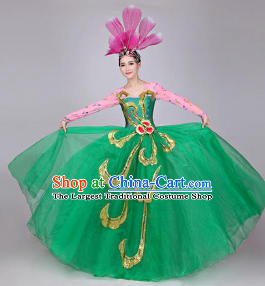Professional Modern Dance Costume Opening Dance Stage Performance Green Dress for Women