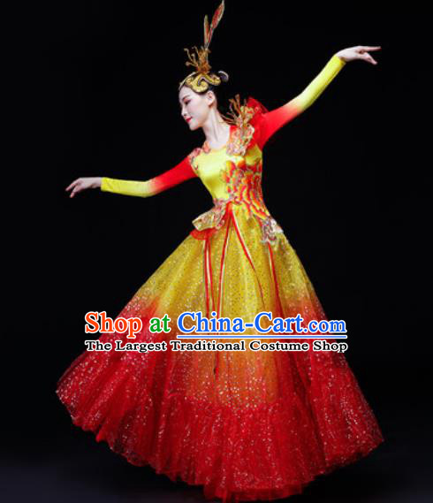 Professional Opening Dance Modern Dance Costume Stage Performance Veil Dress for Women