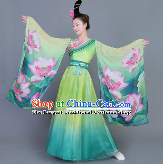 Chinese Traditional Classical Dance Costume Folk Dance Printing Lotus Green Dress for Women