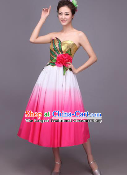 Professional Modern Dance Rosy Dress Opening Dance Stage Performance Chorus Costume for Women