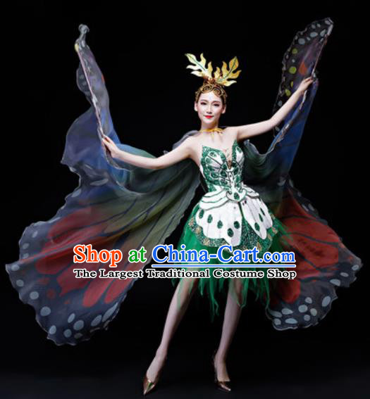 Professional Opening Dance Costume Modern Butterfly Dance Stage Performance Green Dress for Women