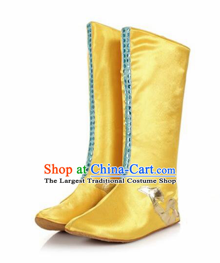 Chinese Traditional Mongol Nationality Shoes Mongolian Folk Dance Golden Boots for Women