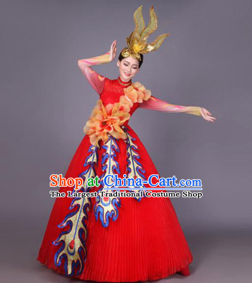 Professional Modern Dance Red Veil Dress Opening Dance Stage Performance Chorus Costume for Women