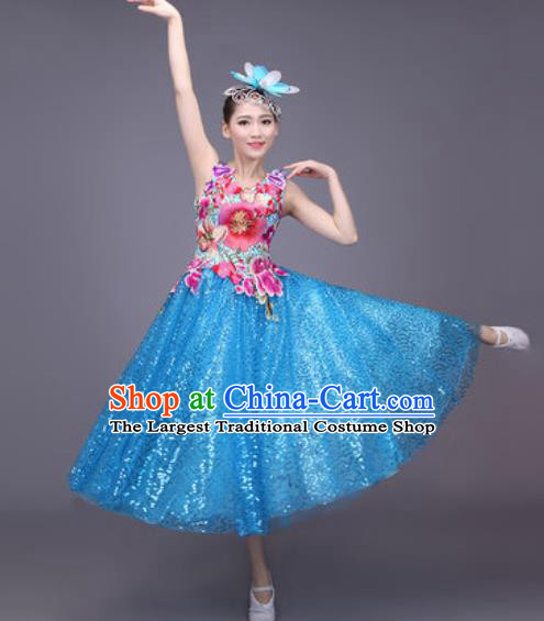 Professional Modern Dance Blue Bubble Dress Opening Dance Stage Performance Chorus Costume for Women