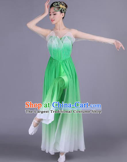 Chinese Traditional Classical Dance Costume Lotus Dance Folk Dance Green Dress for Women
