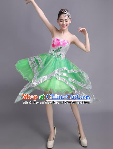 Professional Modern Dance Green Short Dress Opening Dance Stage Performance Chorus Costume for Women