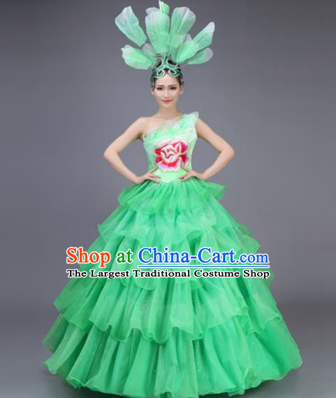 Professional Modern Dance Dress Opening Dance Stage Performance Chorus Green Flowers Costume for Women