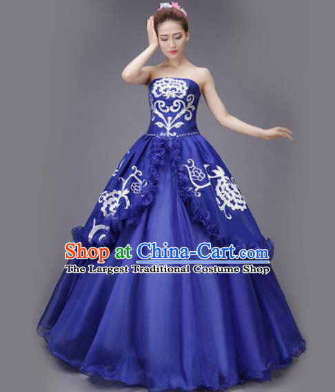 Professional Modern Dance Royalblue Dress Opening Dance Stage Performance Chorus Costume for Women