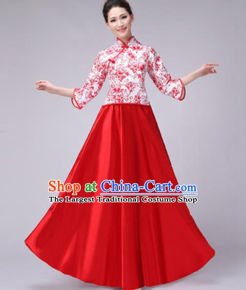 c1d18e9e9834 Chinese Classical Dance Fan Dance Costume Traditional Folk Dance Chorus Red  Dress for Women