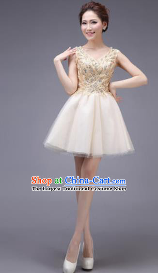 Professional Modern Dance Champagne Bubble Dress Opening Dance Stage Performance Bridesmaid Costume for Women