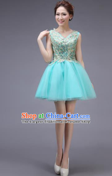 Professional Modern Dance Blue Bubble Dress Opening Dance Stage Performance Bridesmaid Costume for Women