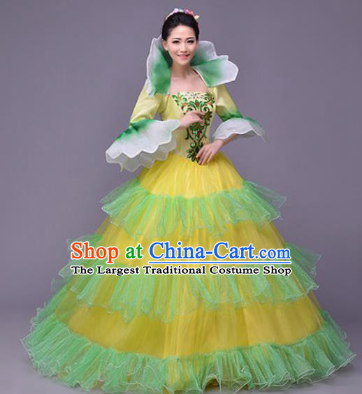 Professional Modern Dance Compere Veil Dress Opening Dance Stage Performance Costume for Women