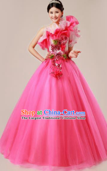 Top Grade Waltz Dance Compere Costume Modern Dance Stage Performance Rosy Dress for Women