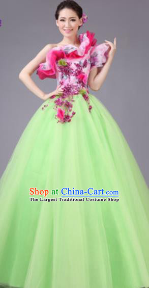 Top Grade Waltz Dance Compere Costume Modern Dance Stage Performance Green Dress for Women