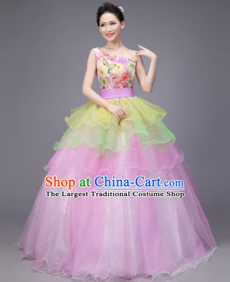 Professional Modern Dance Compere Pink Veil Dress Opening Dance Stage Performance Costume for Women