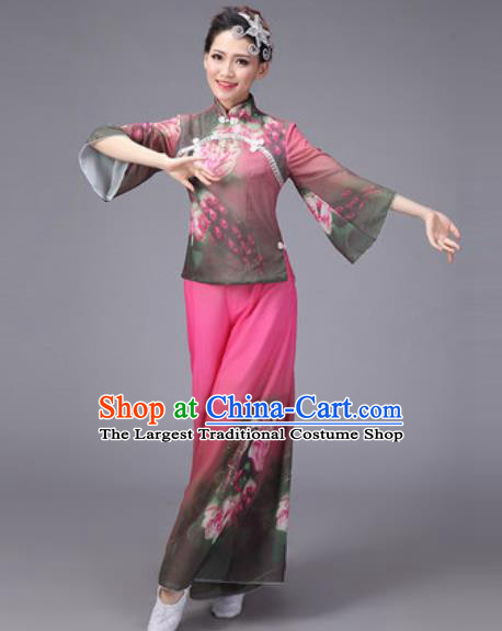 Chinese Classical Dance Costume Traditional Folk Dance Yanko Printing Pink Clothing for Women