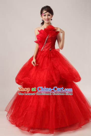 Top Grade Waltz Dance Compere Red Costume Modern Dance Stage Performance Dress for Women