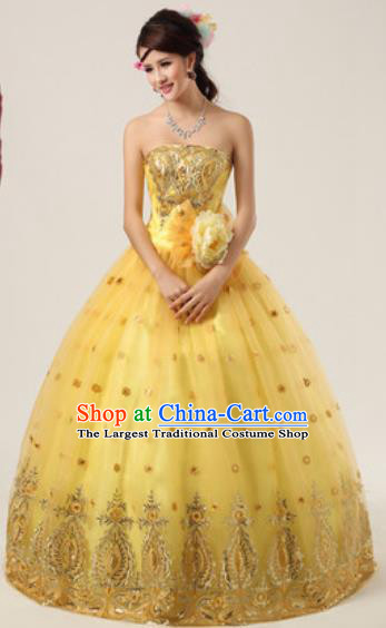 Top Grade Compere Costume Waltz Dance Modern Dance Stage Performance Yellow Dress for Women