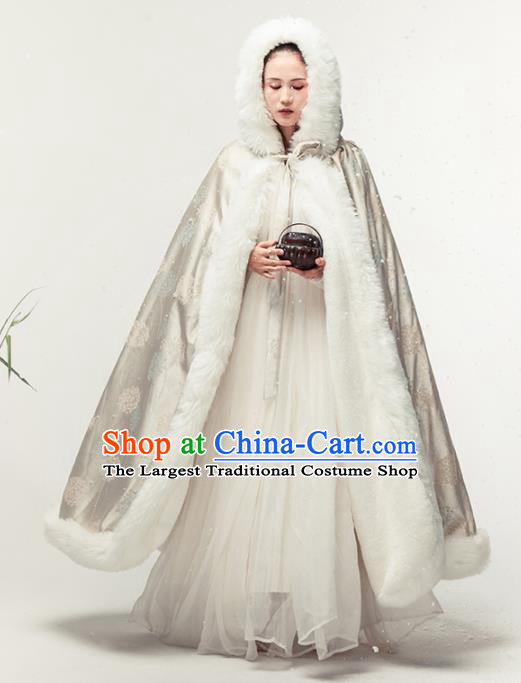 Chinese National Costume Traditional Tang Suit Embroidered Cloak for Women