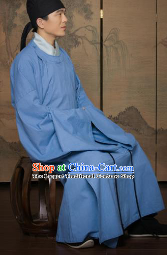 Chinese Traditional Song Dynasty Scholar Replica Costumes Ancient Minister Blue Robe for Men