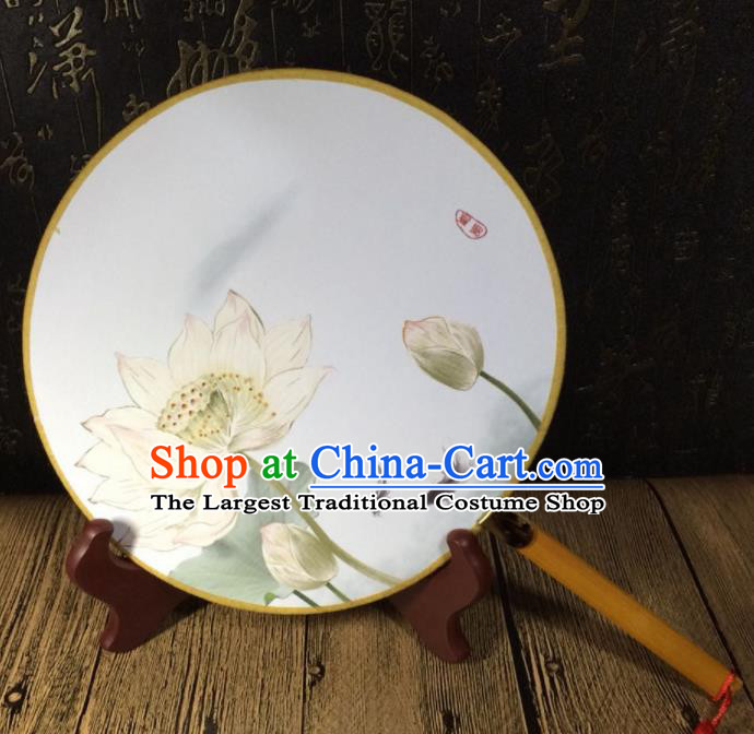 Chinese Ancient Palace Fans Handmade Printing Lotus Round Fans for Women