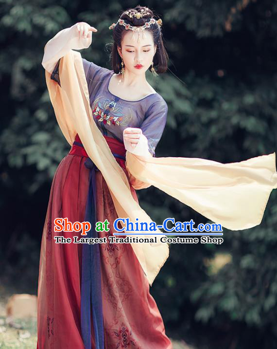 Chinese Ancient Apsara Embroidered Costumes Traditional Tang Dynasty Palace Lady Hanfu Dress for Women