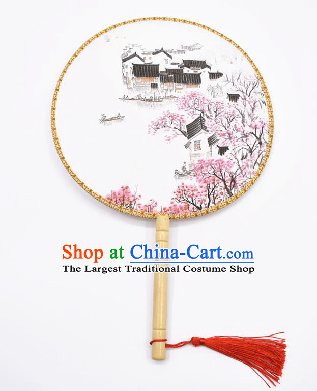 Chinese Ancient Palace Fans Handmade Ink Painting Round Fans for Women