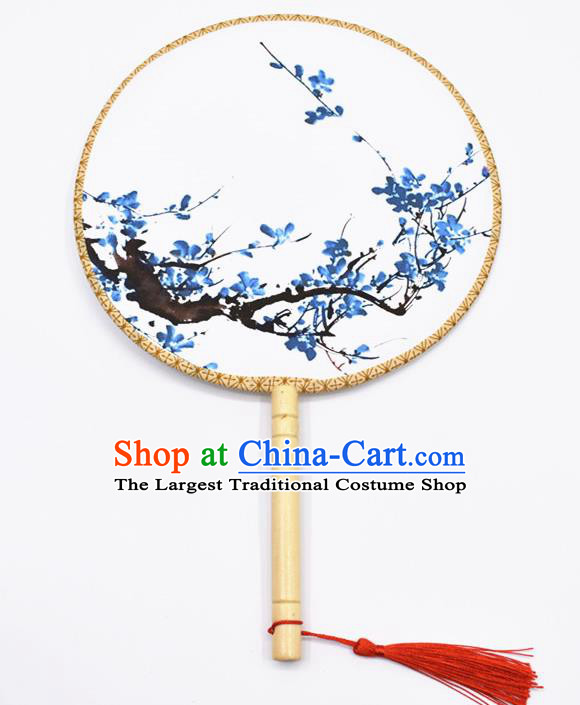 Chinese Ancient Palace Fans Handmade Ink Painting Plum Blossom Round Fans for Women