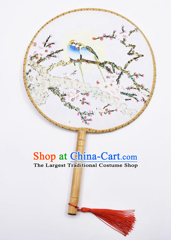 Chinese Ancient Palace Fans Handmade Traditional Printing Birds Wintersweet Silk Round Fans for Women