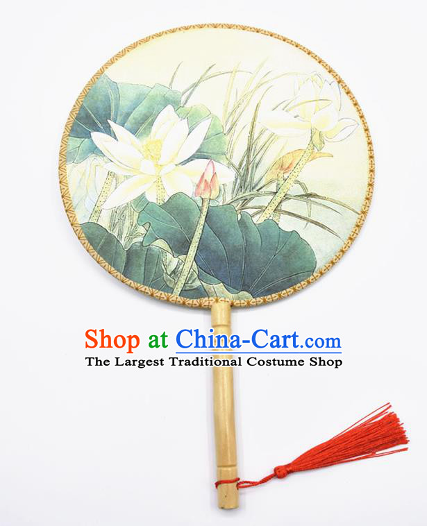 Chinese Ancient Palace Fans Handmade Traditional Printing Lotus Silk Round Fans for Women