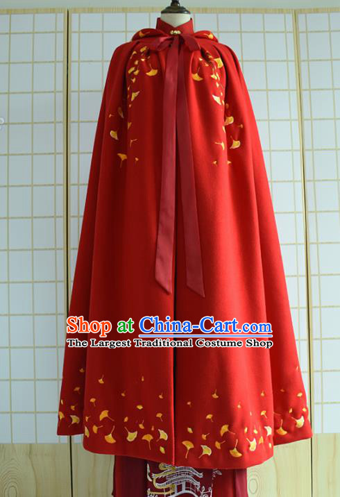 Chinese Ancient Embroidered Costumes Ming Dynasty Princess Hanfu Red Cloak for Women
