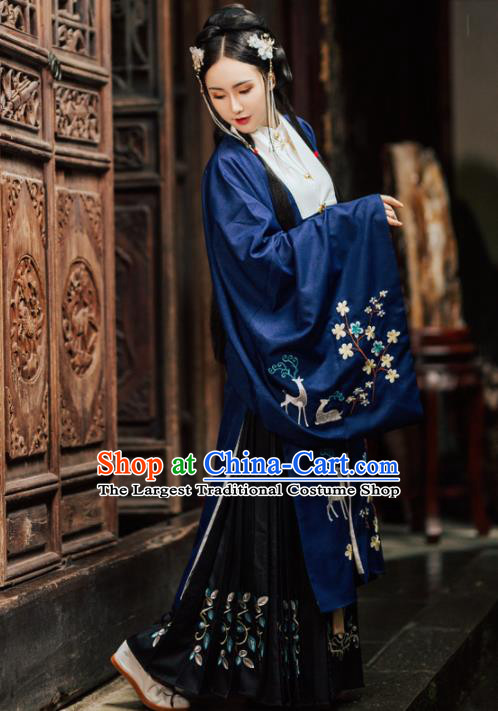 Chinese Ancient Embroidered Costumes Ming Dynasty Princess Blue Hanfu Dress for Women