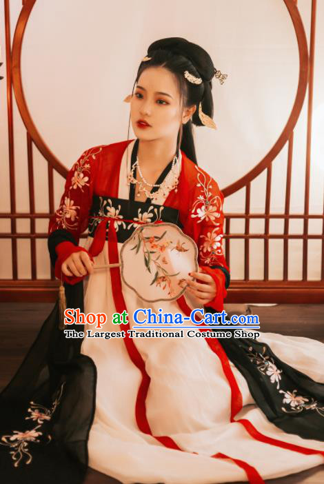 Chinese Ancient Fairy Embroidered Costumes Tang Dynasty Princess Hanfu Dress for Women