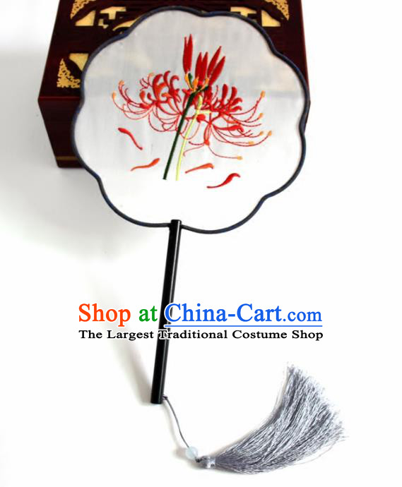 Chinese Ancient Silk Fans Traditional Embroidered Lycoris Palace Fans for Women