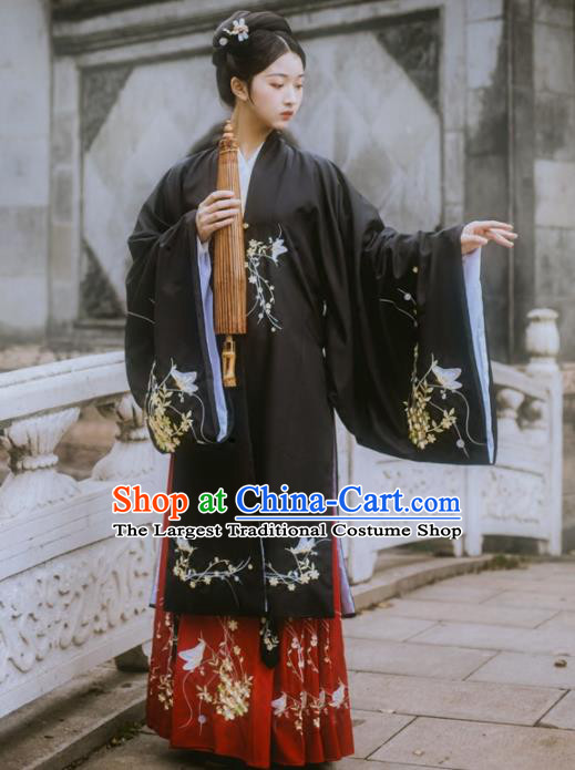 Chinese Ancient Maidenform Costumes Ming Dynasty Princess Embroidered Black Hanfu Dress for Women
