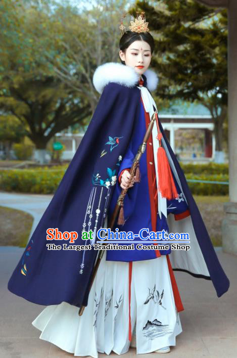 Chinese Ancient Ming Dynasty Princess Costumes Embroidered Blue Cloak for Women
